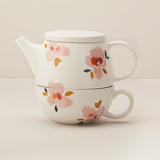 Indigo Peach Blossom Ceramic Tea For One