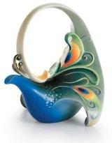 Franz Collection Franz Porcelain Luminescence Magnificent Peacock Design Sculptured Porcelain Teapot