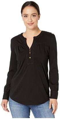 Lauren Ralph Lauren Petite Cotton Jersey Top (Polo Black) Women's Clothing