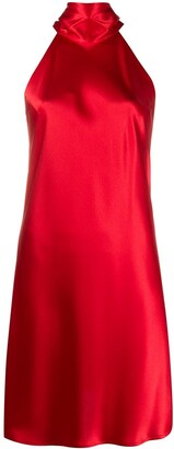 Galvan Halterneck Satin Mini Dress