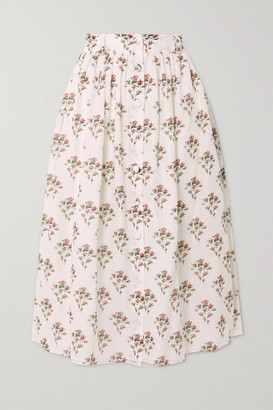 Brock Collection Floral-print Cotton And Silk-blend Midi Skirt - White
