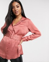 Asos Design DESIGN relaxed satin long sleeve shirt with belt detail-No Color
