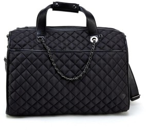 Like Dreams Quilted Duffle Bag with Chain Embellishments