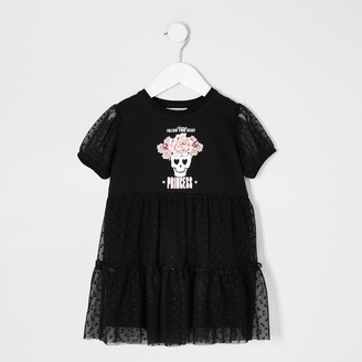 River Island Mini girls Black printed mesh frill dress