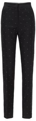 HUGO BOSS Regular Fit Pants In Virgin Wool With Swarovski Crystals - Black