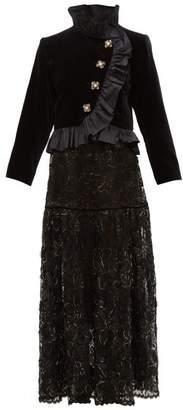 Saint Laurent William Vintage Rive Gauche Velvet Jacket And Lace Gown - Womens - Black