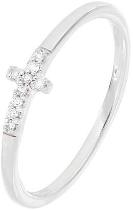 Carriere Sterling Silver Pave Diamond Cross Ring - 0.05 ctw