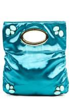 Deux Lux Blue Jewel Gold Tone Double Handle Medium Size Evening Handbag