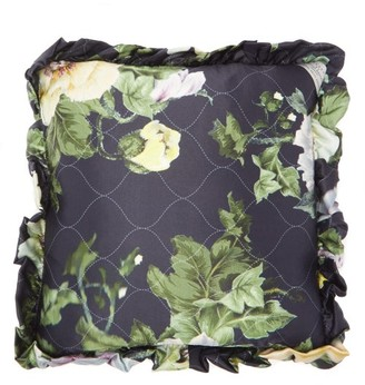 Preen by Thornton Bregazzi Ruffled Floral-print Satin Cushion - Green Multi