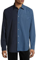 Maison Margiela Re-Edition Garment-Dyed Two-Tone Shirt, Navy