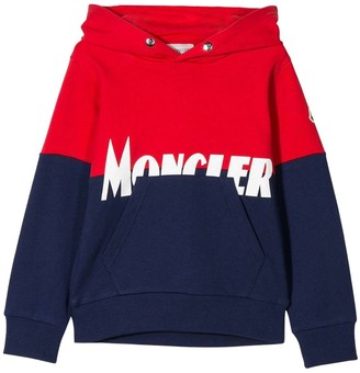 Moncler Kids Navy And Red Logo Hoodie