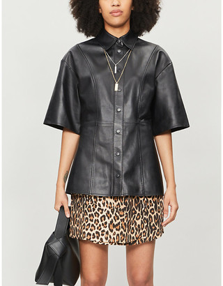 The Kooples Leopard-print crepe asymmetric skirt