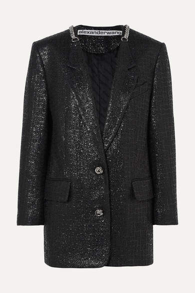 Alexander Wang Chain-trimmed Coated Cotton-blend Tweed Blazer - Black