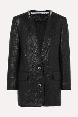 Alexander Wang Chain-trimmed Coated Cotton-blend Tweed Blazer - Black