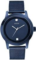 GUESS Blue Round Diamond Mesh Watch