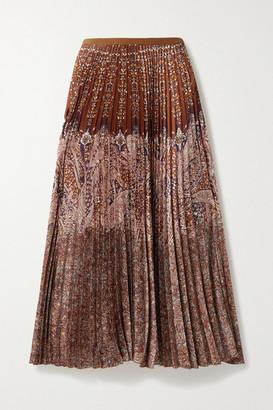 Vanessa Bruno Fadia Pleated Paisley-print Crepe Maxi Skirt - Orange