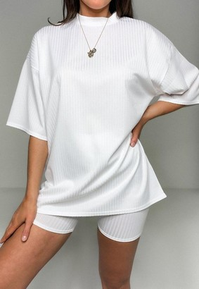 Missguided White Rib T Shirt And Bikershorts Co Ord Set