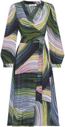 Diane von Furstenberg Natalie Printed Silk Crepe De Chine Midi Wrap Dress