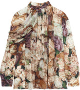 Christopher Kane Floral-print Silk-georgette Blouse - Neutral