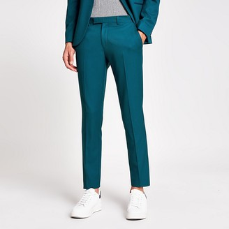 River Island Teal skinny fit stretch suit trousers