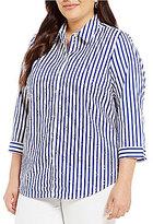 Allison Daley Plus 3/4 Sleeve Stripe Button-Front Shirt