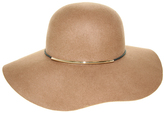 Nine West Pecan Metallic Tube Accent Wool Felt Floppy Hat