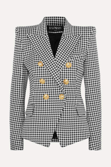 Balmain Double-breasted Houndstooth Cotton-blend Jacquard Blazer - Gray