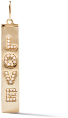 As 29 18kt yellow gold pave diamond Love vertical tag pendant