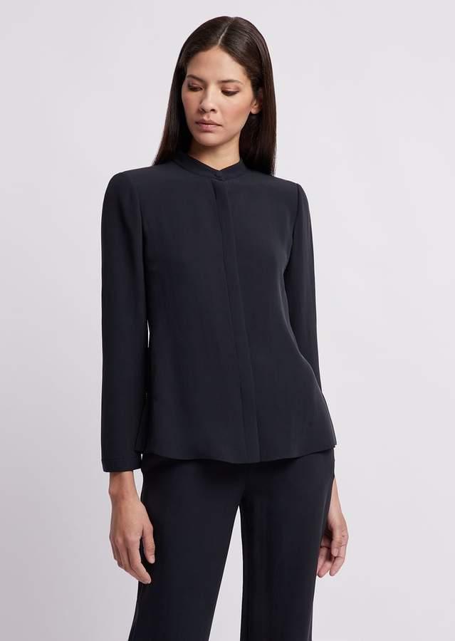 779d583099 Silk Crepe Shirt With Guru Collar