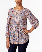 Style&Co. Style & Co Petite Printed Lace-Up Peasant Top, Only at Macy's