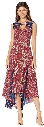 BCBGMAXAZRIA Mixed Print Midi Dress (Deep Red/Floral Toile) Women's Dress