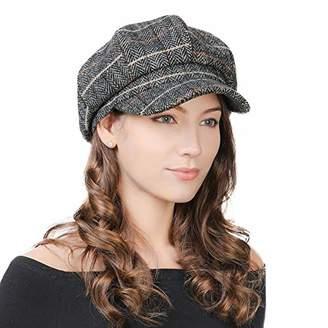 Jeff & Aimy Womens Wool Newsboy Cap Visor Beret Winter Fashion Peaked Cabbie Hat Winter Casual Baker Boy Cap Artist Painter Newsy Hat Grey