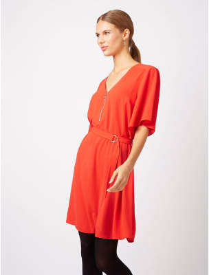 George Belted Zip-Up Tunic Dress