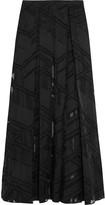 Amanda Wakeley Pleated devoré-paneled cotton-blend maxi skirt