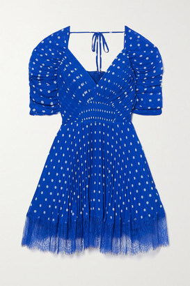 Self-Portrait Lace-trimmed Pleated Polka-dot Chiffon Mini Dress - Blue
