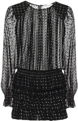 Saint Laurent Polka-dot silk-blend minidress
