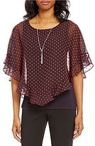I.N. Studio Clip Dot Print Chiffon Top with Removable Necklace