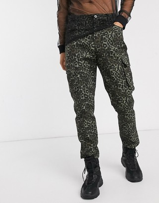 One Above Another cargo pant in dark green leopard