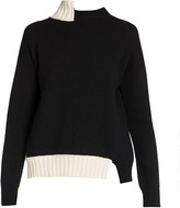 Marni Contrast Asymmetric Wool Knit Crewneck Sweater