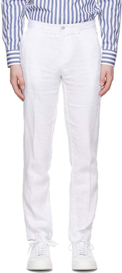 Thumbnail for your product : HUGO BOSS White Linen Crigan 3-D Trousers