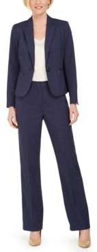 Le Suit One-Button Zip-Pocket Pinstripe Pantsuit