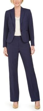 Le Suit Petite One-Button Pinstripe Pants Suit