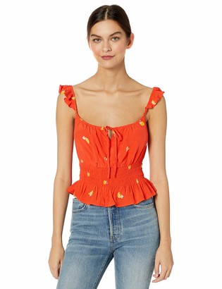 ASTR the Label Women's Pixie Sleeveless Ruffle Trim Fruit Crop Tank TOP