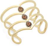 INC International Concepts Gold-Tone Pavé Teardrop Wide Cuff Bracelet, Only at Macy's