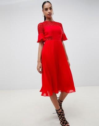 Asos Design DESIGN lace insert pleated midi dress-Red