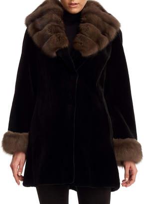 Gorski Sheared Mink Fur Stroller Coat with Sable Trim