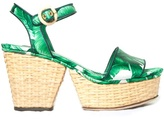 Dolce & Gabbana Banana leaf-print wicker wedge sandals