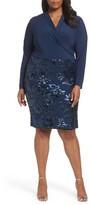 Marina Plus Size Women's Sequin Faux Wrap Sheath Dress
