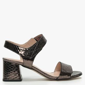 Daniel Petro Bronze Metallic Leather Reptile Block Heel Sandals