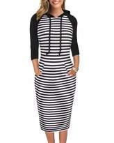 Keen Moyabo Plus Size Hoodies for Women Pullover Stripe 3/4 Sleeve Length Slim Sweatshirt Causal Hoodie Dress with Kangaroo Pocket Black Large